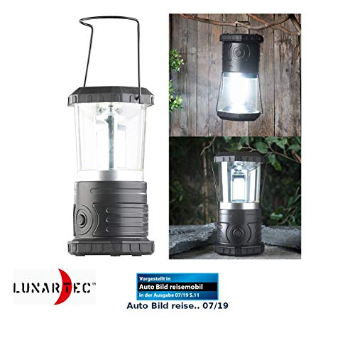 Lunartec LED Campinglampe: Dimmbare Camping-Laterne mit COB-LEDs, 750 Lumen, 9 Watt, IP44 (Campinglampe batteriebetrieben)