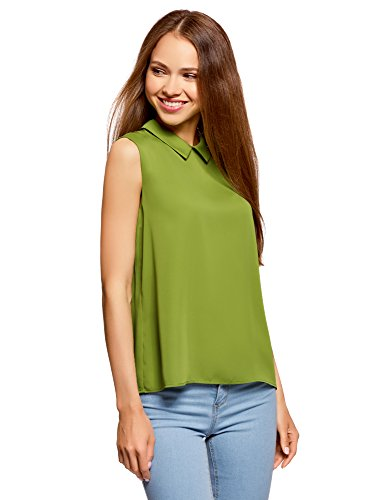 oodji Ultra Mujer Blusa Básica sin Mangas con Cuello, Verde, ES 40 / M