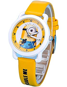 despicable me banana minions kids cartoon Watches leather Watch WP@KTWHR001H