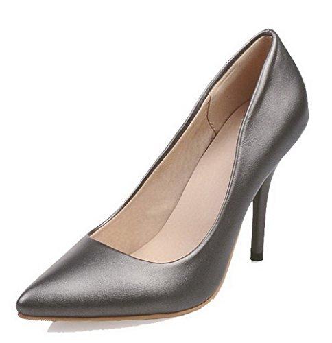 AgooLar Damen Ziehen Auf Lackleder Spitz Zehe Stiletto Rein Pumps Schuhe Grau