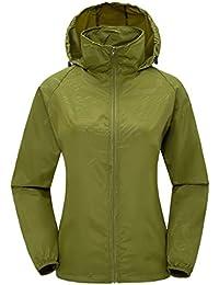 ZSHOW Femme Veste de Sport Léger à Capuche Protection UV Coupe Vent Imperméable à Séchage Rapide