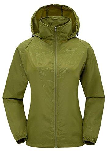 ZSHOW Femme Veste de Sport Léger à Capuche Protection UV Coupe Vent Imperméable à Séchage Rapide Armée verte