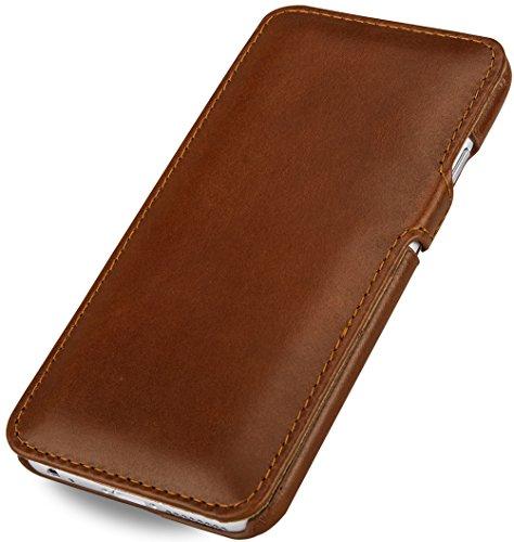 """StilGut Book Type Case con clip, custodia in vera pelle a libro per Apple iPhone 6s (4.7""""), rosso nappa Marrone"""