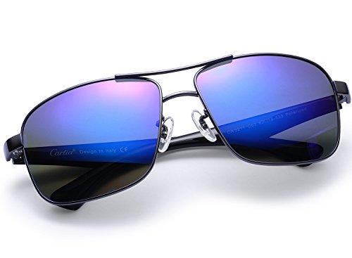 (Carfia Polarisierte Herren Sonnenbrille Modische Metallrahmen Fahrer Sonnenbrille 100% UV400 Schutz für Golf, Autofahren, Outdoor Sport, Angeln)
