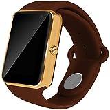 All-in-1 smart Watch, ROSON® neueste Bluetooth Watch Wrist Watch Telefon mit SIM-Karten-Slot und NFC für IOS Apple iPhone, Android Samsung HTC Sony LG Smartphones (BROWN)