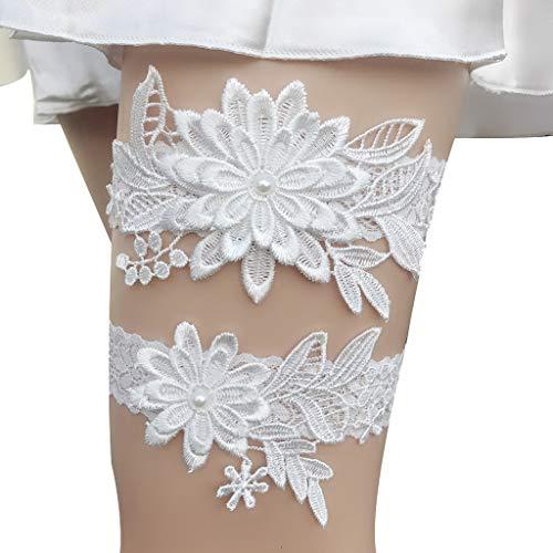 Deloito Braut Mode Besondere Oberschenkel Strümpfe Band Hochzeit Werfen Strumpfband Single Männlich und Weiblich Glücksstücke Strumpfgürtel (Weiß) -