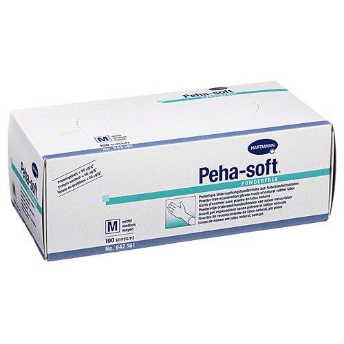 Peha-soft Untersuchungshandschuhe aus Latex, puderfrei, M, 100Stück (Strapazierfähiger Latex-handschuhe)