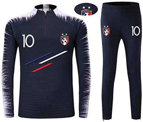 Ensembles de Sport Survêtement de Football Garçon L'équipe de France 2 étoiles Manches Longues (10 Bleu, T22)