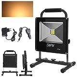 Wolketon 50W Blanc Chaud LED Rechargeable Portable Projecteur Pour Camping, Garage, Terrasse, Jardin, Abri etc