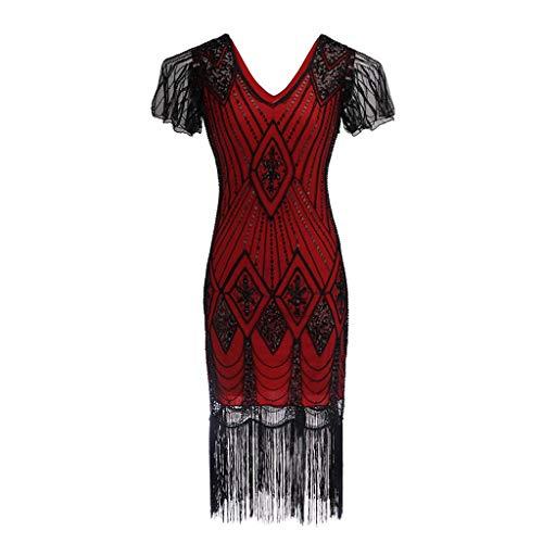 Mitlfuny Karnevalsparty Fancy Festival Zubehör,Damen Kleid mit Pailletten der 1920er Jahre inspiriert Pailletten Perlen Lange Quaste Einsätze Kleid