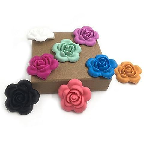 Coskiss 10pcs Baby Silikon Perlen Teether Spielzeug Zahnen Chew Blume geformt Silikon (BPA frei) für Baby Halskette / Armband DIY Baby Zahnen Zubehör (Glückliche Blumen-halskette)