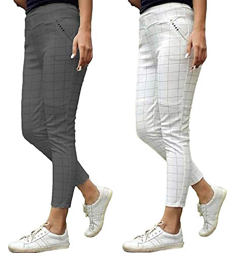 The Secret Boutique Checks Printed Jeggings for Womens and Girls with Cotton Plus Material Pack of 2 (White & Grey)