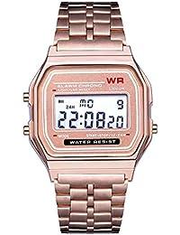 faf038959c8 Moda Vintage LED Reloj Digital Correa de Acero Inoxidable Alarma Reloj de  Pulsera Vestido de Negocios