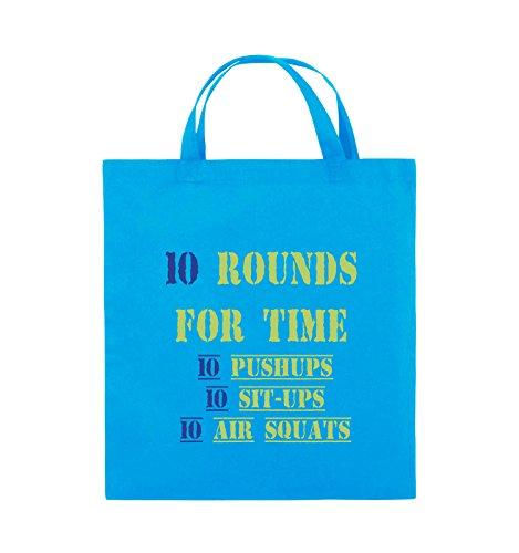 Comedy Bags - 10 Rounds for time 10 pushups 10 sit ups 10 air squats - Jutebeutel - kurze Henkel - 38x42cm - Farbe: Schwarz / Weiss-Neongrün Hellblau / Hellgrün-Royalblau