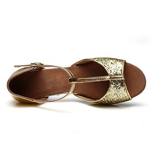 HROYL Mädchen Tanzschuhe/Latin Dance Schuhe Satin Ballsaal Modell-DS-205 Gold