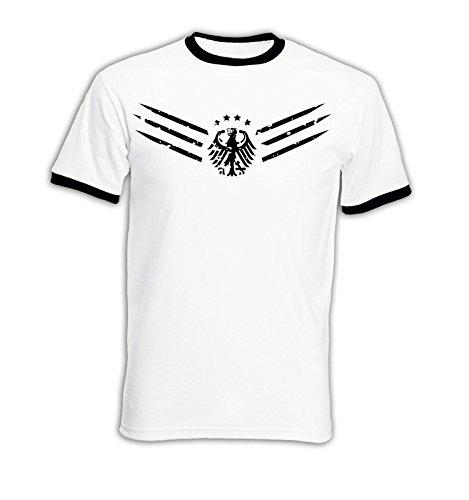 EM 2016 - Deutschland - FanShirt1 - Vintage - Ringer Herren T-Shirt - Weiss/Schwarz Gr. XL -