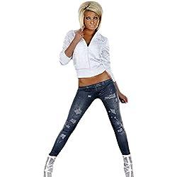 Jeans Look Leggings Pantalones Leggings leggins tubo Treggings Jeggings de las NUEVAS mujeres de impresión (negro)