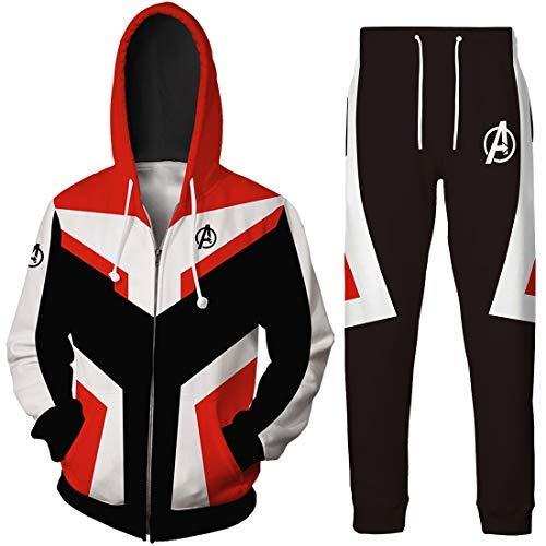 OLIPHEE Cosplay Kostüme Quantum Realm Superhero Bekleidungsets Top mit Lange Hose Streetwear Reißverschluss Jacke Rot EU S(Etikett M) (Kostüm Mit Roten Jacken)