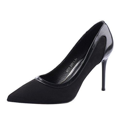 KHSKX-9Cm Scarpe Con Tacchi Alti La Moda Delle Scarpe Con Sottili Superficiale Della Bocca Versione Coreana Del Nuovo Sexy Colore Combaciano Con Le Scarpe black