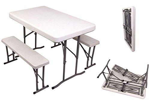 Buri Mini Bierzeltgarnitur Tisch + 2 Sitzbänke Campingtisch Zeltgarnitur klappbar