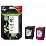 CR340EE HP Ink Cartridge 301 Schwarz und Dreifarbig HP 301 original HP Druckpatronen, 2er-Pack, Tintentropfen13,5 pl (Schwarz), 2,3 pl bis 8,5 pl (Farbe, je nach Druckmodus und Ge