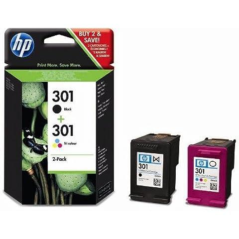 HP 301 - Cartucho de tinta para impresoras (Negro, Cian, Magenta, Amarillo, 130 ml, 190 páginas, 20 - 80%, -40 - 60 °C, 15 - 32