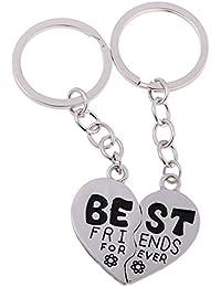 1Pair Broken Heart Best Friends Forever Keychain BFF Key Chain Couple Lovers Key Rings Hey Holder Romantic Gift...