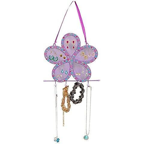 Morado de Metal diseño de flores brillantes pendientes con cristales de soporte/soporte de joyería gancho para colgar - Mi