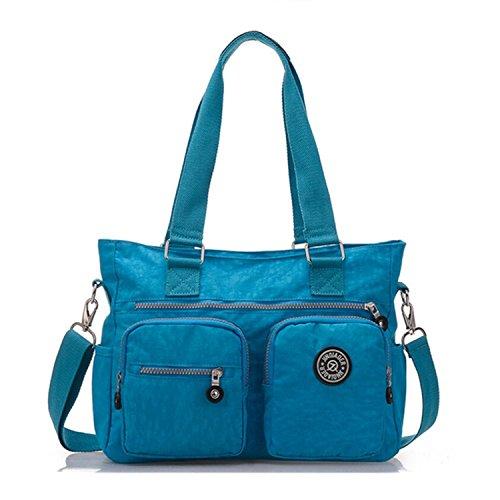Tiny Chou, borsa di nylon multiuso resistente all'acqua premium, borsa a tracolla per donne Blu (Blu cielo)