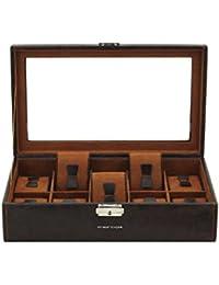 Friedrich 23 Unisex Uhrenkasten mit Glasdeckel für 10 Uhren Kunststoff Braun 20084-3