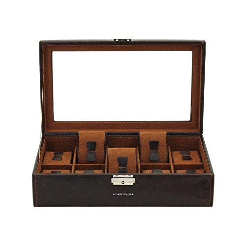 Friedrich|23 Unisex Uhrenkasten mit Glasdeckel für 10 Uhren Kunststoff Braun 20084-3