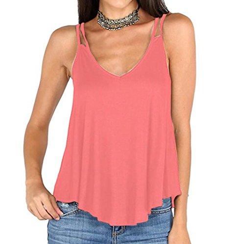 YYF Damen V-Ausschnitt Unterhemd Rot