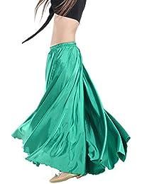 Gonna Calcifer per danza del ventre, lunga, in raso, da donna, per costumi e danzatrici professioniste, Dark Green