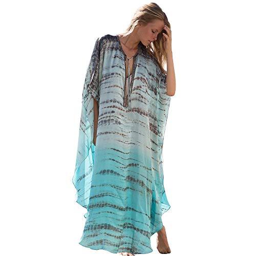 Ddl Frauen Beach Siamese Rock Wide Sleeve Bluse Chiffon Print Bikini Bluse Sonnenschutz Bekleidung Frauen Long Beach Seaside Vacation Siamese Rock Summer Sunscreen - Wide Sleeve Print Kleid