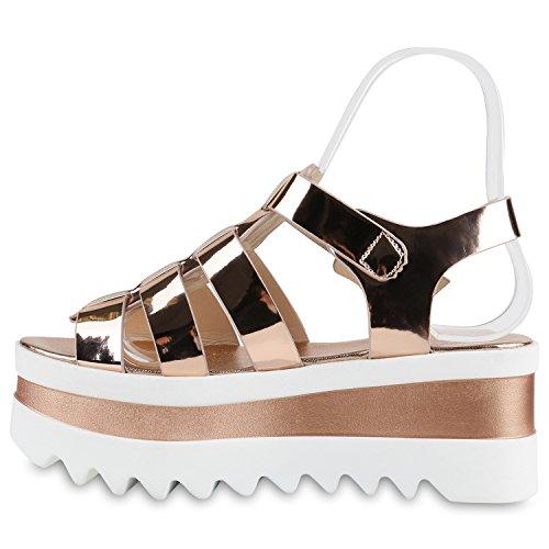 Funky Damen Plateau Sandaletten Lack Metallic Schuhe Profilsohle Rose Gold