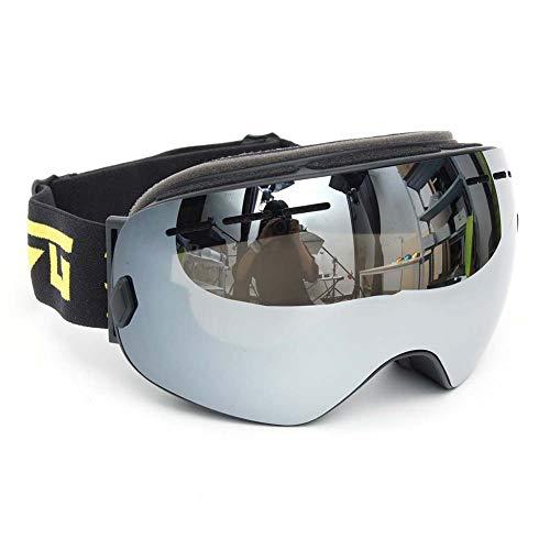 Qnlly Skibrille Anti Fog Snowboard OTG Premium Skibrille für Herren und Damen, Teenage Skibrille Double Lens Silver 100% UV400 Protection