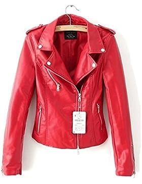 LJYH - Chaqueta estrecha de piel con cremallera para mujer, color rojo/negro