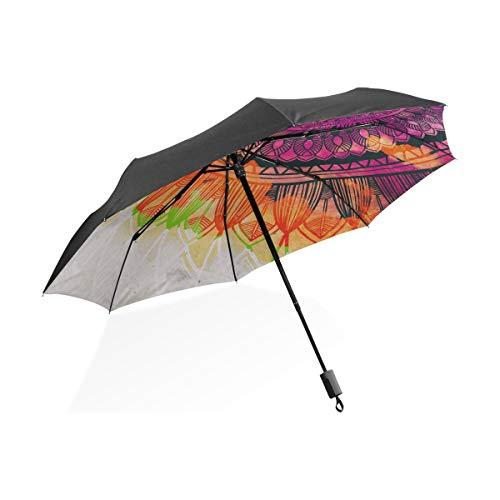 Paraguas de Viaje de Golf Acuarela Mandala Paraguas Plegable Compacto portátil Protección contra Rayos UV A Prueba de Viento Viaje al Aire Libre Mujeres XL Paraguas de Viaje