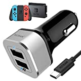 Chargeur de Voiture Switch Allume Cigare Ultra Compact 2 Ports USB 5V 4.8A 6.6ft/2m Câble USB Type C Charge Rapide pour Nintendo Switch Compatible avec Android iPhone Tablette, Gris
