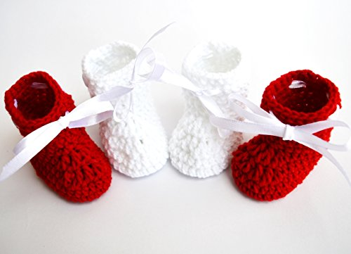 Love Crochet Art Baby Booties For 6 To 12 Months Baby - Set Of 2 Booties Red & White