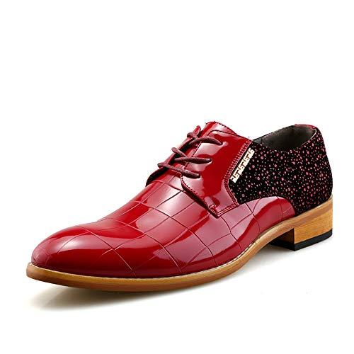 Apragaz Herren Party Hochzeit Schuhe aus echtem Leder Oxfords Lace Up Schuhe (Color : Rot, Größe : 43 EU) Lace Up Smoking