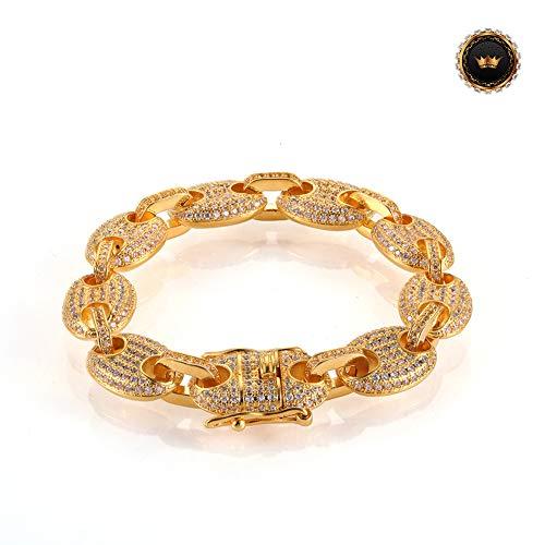 Z-Bracelet@ Hip Hop Chain Link Armband Für Mens Womens Rapper Kubanischen 3A Weißen Zirkon Link Armbänder Schmuck Geschenk,Gold,8inch -