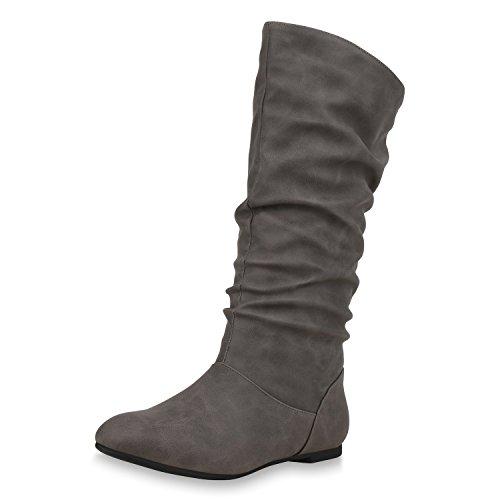 SCARPE VITA Damen Schlupfstiefel Warm Gefütterte Stiefel Leder-Optik Schuhe 152414 Grau 39