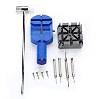 Souarts 6pcs Black Watch Band Repair Link Pins Hammer Remover Sizing Tool Set for Watch 21x10.5x5cm