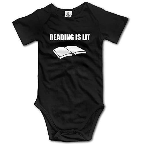 Monicago Neugeborenes Baby Jungen Mädchen Babybody Langarm, Reading is Lit Newborn Babys Boy's Girl's Short Sleeve Jumpsuit Outfits for 0-24 Months Black Unisex