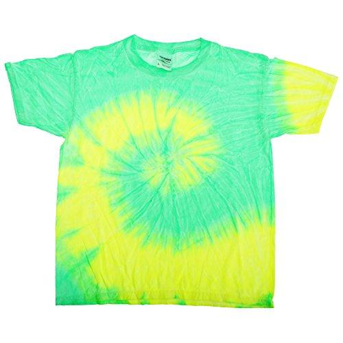 Tie-Dye - Camiseta psicodélica de manga corta Modelo Spiral Unisex Niños Niñas - Moda/Tendencia/ Hippie (Pequeña (S)/Cítricos fluorescentes)