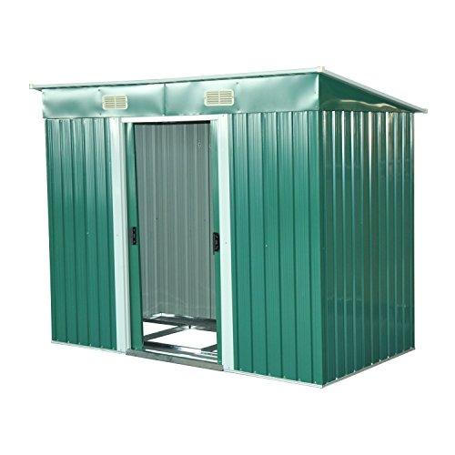 outsunny box casetta porta attrezzi da giardino in lamiera d'acciaio, verde, 237 x 119 x 181 cm