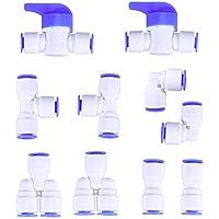 UEETEK 10 Stücke 1/4 Zoll Kunststoff Quick Connect Push In zu Verbinden Wasser Rohr Fitting Set