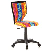 hjh OFFICE, 670060, Childrens Desk Chair, swivel chair, computer chair kids room, KIDDY LUX, Motif, mesh fabric, for children, ergonomic back, height adjustable, office task study chair,  home stool, armless, with soft-bottom rollers