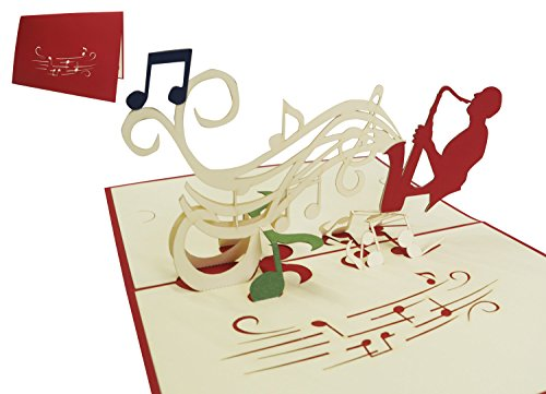 Lin 17327 Pop Up Greeting Cards Birthday Music Concert Voucher Saxophone Play Red